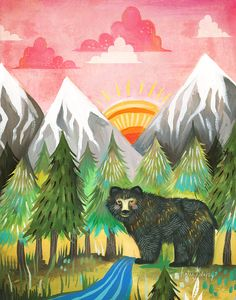 Embolden your living space with the adorable and colorful Posters That Stick Katie Daisy Sunrise Bear Wall Art. This fabric poster easily adheres to your wall and features a charming artistic rendition of a black bear standing at sunrise. Kitsch, Daisy Art, Daisy Daisy, Acrylic Artwork, Bear Print, Nursery Wall Art, Nursery Decor, Art And Illustration, Watercolor Paintings