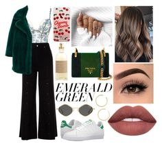 """EMERALD CITY: POPS OF GREEN"" by emily5302 ❤ liked on Polyvore featuring Va Bien, Prada, River Island, MANGO, ETUÍ, Burberry, adidas, BaubleBar and emeraldgreen"