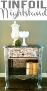 Vintage Revivals: This is a clever blog. Regular tin foil and paint to customize a night stand? awesome.