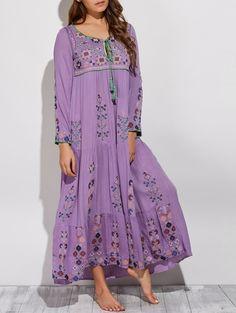 Scoop Neck Embroidered Swing Maxi Dress PURPLE: Maxi Dresses | ZAFUL
