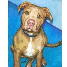 Riley? Pit Bull Dog Art 8x10 Print of Original Painting by DottieDracos, $12.00