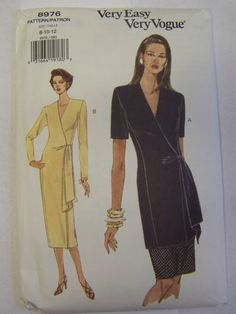 Uncut 1990s VOGUE 8976 WRAP DRESS, Top and Skirt Pattern sz 12-14-16 by RaggsPatternStash on Etsy