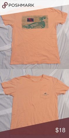 Southern Marsh Orange Pocket Tee Shirt Orange color. Pocket with logo on chest. Duck print on back. GUC. Pet Friendly + Smoke Free Home. Southern Marsh Tops Tees - Short Sleeve