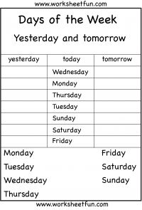 Days of the Week – Yesterday and Tomorrow – 6 Worksheets
