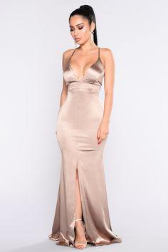 Decadence Satin Dress - Champagne