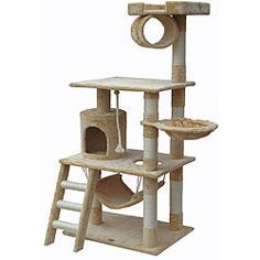 @Overstock - This 62-inch cat tree features a variety of great toys and beds for your cats to sleep and play in. Providing your cat with scratching posts and an easy way to climb, this cat tree is made with pressed wood covered in a soft faux fur.http://www.overstock.com/Pet-Supplies/Go-Pet-Club-62-inch-Cat-Tree/6735202/product.html?CID=214117 $99.99