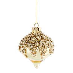 Amara - Glass Pearl Christmas Bauble - Gold
