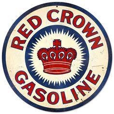 Red Crown Gasoline Round Tin Sign Nostalgic Metal Sign Retro Home Wall Decor Art Vintage, Vintage Metal Signs, Vintage Walls, Vintage Posters, Vintage Style, Retro Style, Vintage Items, Retro Home Decor, Home Wall Decor
