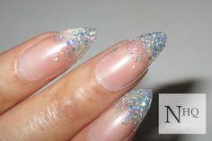 Glitter Stiletto Nails Almond Nails Fake Nails by nhqofficial