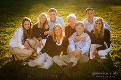 large family portrait at sunset