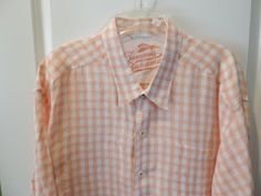 Tommy Bahama Designer Orange Plaid Linen Long Sleeve Big Man Shirt 2XL Mint #TommyBahama #ButtonFront