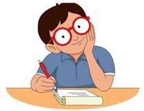 Student writer with pen paper clipart