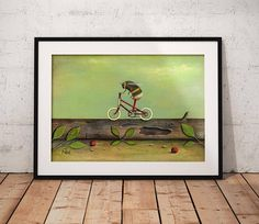 Bee on Bicycle Art Print - Bumble Bee Painting - Bee Art - Gift Idea - Home and Nursery Decor This is a fine art print taken from my original acrylic painting Ride a Red Bike. Every print in my shop comes from an individual painting of mine. Fine art prints make beautiful and