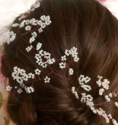Excited to share this item from my shop: Bridal Hair Vine Flower Girl Hairstyles, Weave Hairstyles, Wedding Hairstyles, Gypsophila Wedding, Hair Grips, Floating Flowers, Hair Shades, Bridal Hair Vine, Wedding Hair Accessories