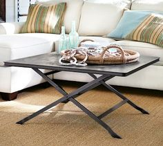 Carter Metal Coffee Table #potterybarn    Would be perfect with big floor pillows all around for the kids to sit and snack at.