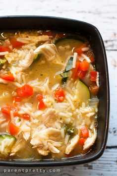 Chicken rice vegetable soup. I think this would be the perfect base to sub the actual rice for cauliflower rice.