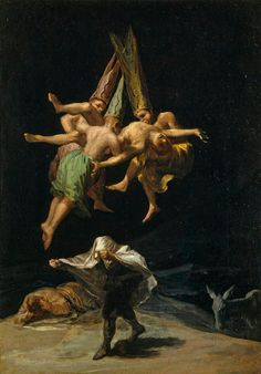 "el-guia-del-laberinto: "" artist-goya: "" Witches in the Air via Francisco Goya Size: cm Medium: oil, canvas"" Francisco de Goya "" Städel Museum, Spanish Artists, Caravaggio, Classical Art, Famous Artists, Dark Art, Art History, History Major, History Memes"