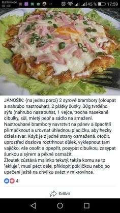 Slovak Recipes, Baked Potato, Good Food, Food And Drink, Low Carb, Snacks, Meals, Chicken, Drinks