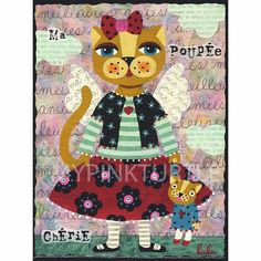 Dressed up Cat Angel with Cat Doll  print by LuLu Mypinkturtle