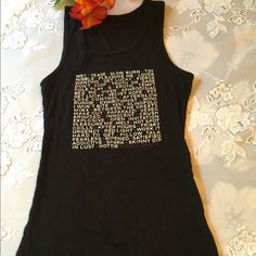 """Victoria's Secret Black Tank Top Victoria's Secret super cute tank top is from """"VERY SEXY"""" and I guess it is!  Black with white writing! Just been sitting in a drawer-- like new Victoria's Secret Tops Tank Tops"""