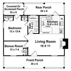 1 Bedroom House Plans, Guest House Plans, Small House Floor Plans, Basement House Plans, Cottage House Plans, Small House Plans, Tiny Cottage Floor Plans, 30x40 House Plans, Cabin Plans