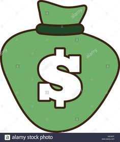 cartoon green bag money dollar cash vector illustration eps 10 Stock Vector