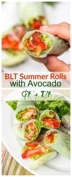 BLT Summer Rolls with Avocado - who needs the bread anyway when with thin rice paper wrappers you can get to all the star ingredients right away! Less calories, less carbs, more flavor. Gluten Free and Dairy Free. Perfect for lunch or a light dinner.