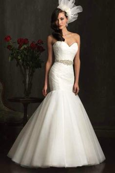 Strapless laced sweetheart, dropped waist tool wedding dress