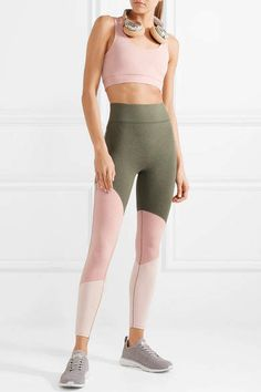 We/Me - The Exhale Color-block Stretch-jersey Leggings - Army green #ad