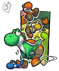 Three and one Yoshi Yoshi Drawing, Super Mario Art, Pokemon, V Games, Super Mario Brothers, Beautiful Fantasy Art, Mario And Luigi, Video Game Art, Super Smash Bros