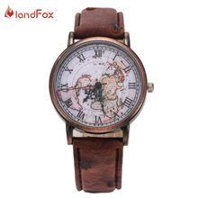 Landfox montre femme mulheres vintage relógios com mapa do mundo de relógio de couro relógio de pulso para homens relojes mujer 2015(China (Mainland))