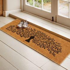 Natural Coir Door Mats with Attractive Printed Designs to Welcome your Guests. The tough hardwearing Coir Brush Surfaces keeps the dirt away from your home. Mats are available in rectangular, half, round, oval and oblong shapes in all regular sizes. Ideal for covered entranceways and patios. Coir surface with Anti slip backing. Made from natural coconut fibers called coir. Natural coconut fibers enhance beauty and offer superior cleaning performance. Blue Dart, Fibre Material, Coir Doormat, Black Tree, Tree Print, Tree Designs, How To Run Longer, Clean House, Vibrant Colors