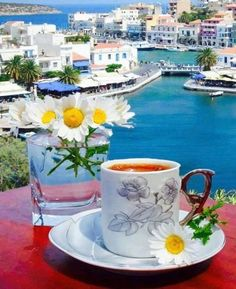Coffee time at Agios Nikolaos Town,Lassithi region, Crete island, Greece Coffee Latte, I Love Coffee, My Coffee, Coffee Time, Coffee Cups, Tea Cups, Tea Time, Good Morning Coffee, Good Morning Gif