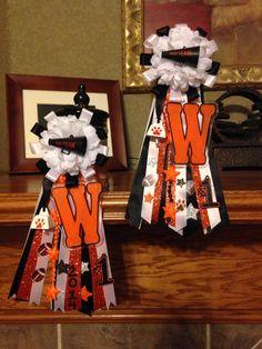 DIY small homecoming mums. School spirit orange and black.