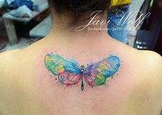 Javi Wolf Tattoo- no line butterfly on back, watercolor Watercolor Butterfly Tattoo, Dragonfly Tattoo, Watercolor Tattoos, Unique Tattoos, Beautiful Tattoos, Wolf Tattoos, Tatoos, Javi Wolf, Recovery Tattoo