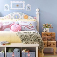 Periwinkle Bedroom - love the painted quilt design on the headboard!