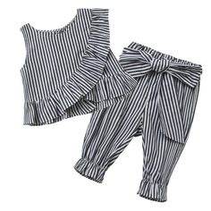 2018 Fashion Baby Girl Clothes Set Girl's 2pcs Striped Ruff Cotton Summer Sleeveless Shirt + Pants