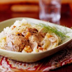These chicken thighs are slow-cooked while the licorice-like fennel and pears give this dish a distinctive, pleasing taste. With a prep time of just 20 minutes, you can put these in the slow cooker in the morning and be out the door in no time. Just before serving, make rice or couscous and you have a tasty chicken dish everyone will love.