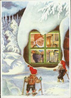 Julekort Paul Lillo-Stenberg. Dbl.kort. Utg Mittet Påskrevet 1959 Christmas Cards, Christmas Postcards, Gnomes, Troll, Mittens, Norway, Woodland, Decoupage, Olympics