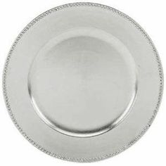 """Round Acrylic Silver Beaded Charger Plate, 13"""" 