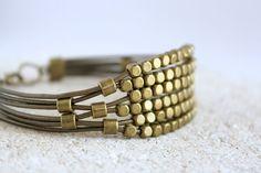 Leather Wrap Beaded Bracelet Bohemian Indie Jewelry Multistrand Leather Cuff Boho on Etsy, $30.00