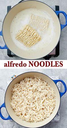 Alfredo Noodles, Alfredo Sauce, Noodle Recipes, Dishes Recipes, Cooking Recipes, Easy Alfredo Recipe, 5 Ingredient Recipes, Pasta Dinner Recipes, Vegetarian Recipes Dinner