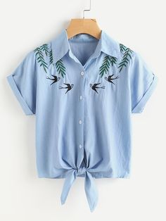 SheIn offers Tie Front Swallows Embroidered Denim Shirt & more to fit your fashionable needs. Summer Outfits, Casual Outfits, Cute Outfits, Teen Fashion, Fashion Outfits, Womens Fashion, Fall Fashion, Fashion Black, Petite Fashion
