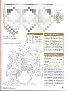 Pintura em Tecido Passo a Passo: Pintura jarro com girassóis e gráfico de barrado de crochê