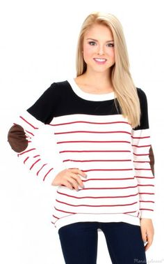 0dc085dbe57c Little Bit Of Red Striped Sweater Monday Dress
