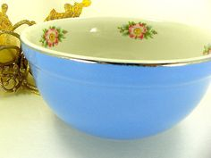 Darling Blue Pottery Bowl with Pink Dogwood by Halls by Chaseyblue