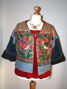 Paradiesvogel Kimonojacke Upcycling aus Stoffresten und alten Jeans