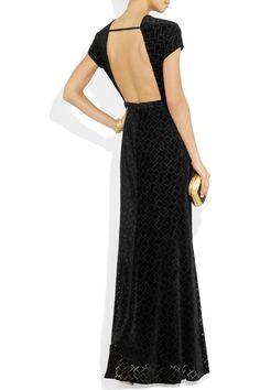 ISSA  Backless velvet gown
