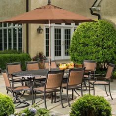 Mixed materials for a unique look. Chairs stack for easy storage. Alfresco Home Pilot 8-Person All Weather Wicker Dining Set : Ultimate Patio