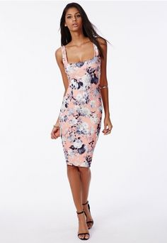 Chenai Bodycon Dress Pink Floral - Dresses - Bodycon Dresses - Missguided